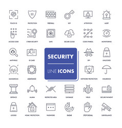 line icons set security vector image