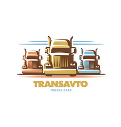 logo trucks on white background vector image