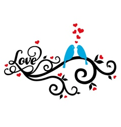 love birds with red hearts vector image