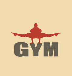 Muscular man posing on gym word silhouette vector