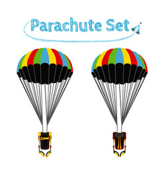 Parachute pack with opened parachute skydiving vector