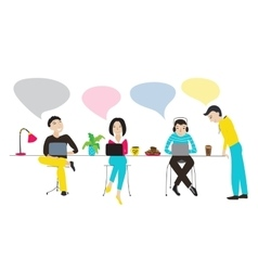 People working together with speech bubbles vector image