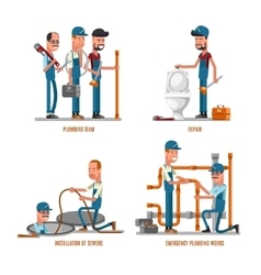 Plumbing work plumbers and repairs vector