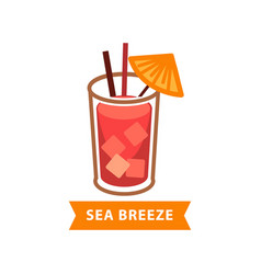 Popular cocktail sea breeze with ice cubes and vector