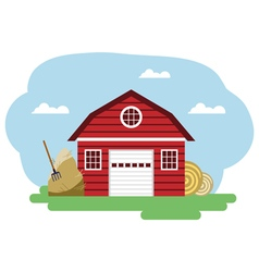 Red farm building and related items vector