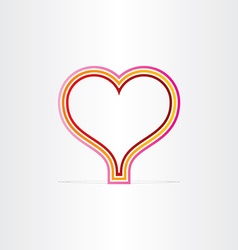 red heart shape lines symbol vector image