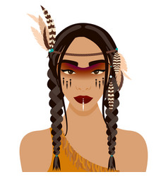 red indian girl vector image