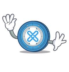 Waving gxshares coin character cartoon vector