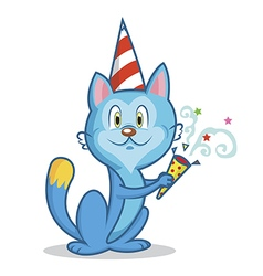 Funny cat celebrates birthday vector