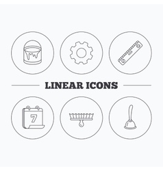 Level tool plunger and brush tool icons vector
