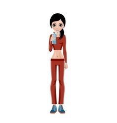 Sports girl with a water bottle vector