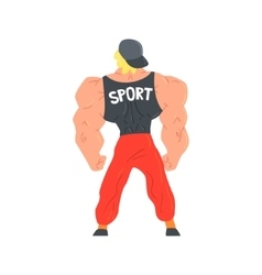 Man in red sportive pants and cap bodybuilder vector