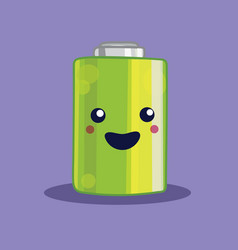 Isolated kawaii battery vector