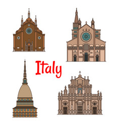 Italian travel landmark building icon set vector