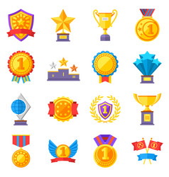 Trophy medals and winning ribbon success icons vector