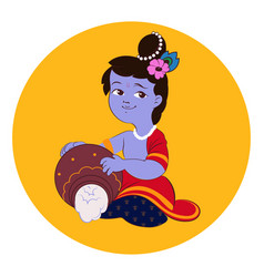 Little baby lord krishna plays on flute vector