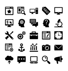Seo and digital marketing glyph icons 2 vector