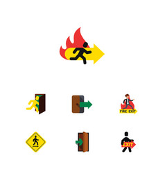 Flat icon exit set of emergency exit entrance vector