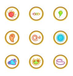 Biology icons set cartoon style vector