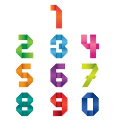 Numbers set origami style vector