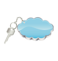 3d realistic metal key with keyring in cloud shape vector