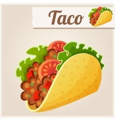 Mexican taco detailed icon vector