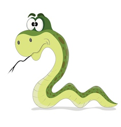 Cartoon funny green snake vector