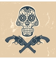 Hand drawn skull with guns on a grungy background vector