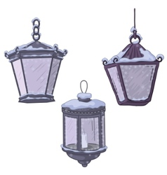 Vintage street lanterns vector