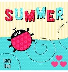 Card ladybug red vector