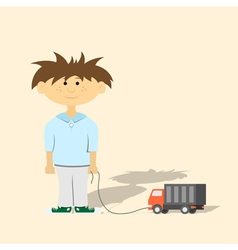 Boy with toy vector