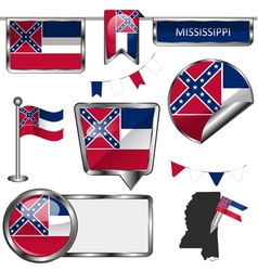 Glossy icons with mississippian flag vector