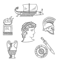 Culture symbols of ancient greece vector