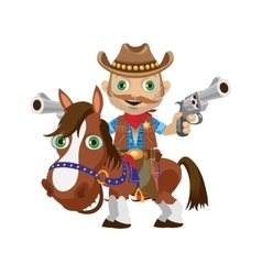 Cowboy rider on a stallion wild west character vector