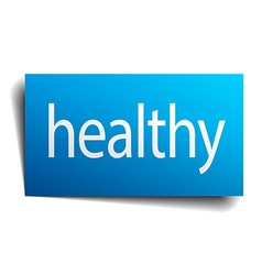 Healthy blue paper sign on white background vector