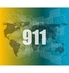 911 words on digital touch screen interface vector