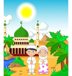 Funny two muslims in front of mosque landscape bac vector