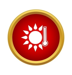 Thermometer with sun icon simple style vector