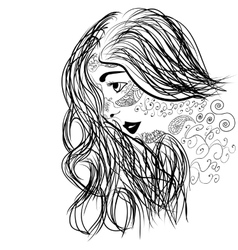 Zentangle portrait of girl face in profile vector