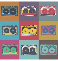 Audiocassette retro popart music seamless vector image vector image