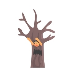 Boy in costume of the dead scary tree performing vector