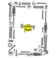 Building tools hand drawn frame vector