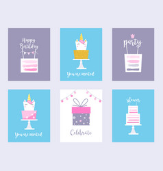 Cakes and unicorns birthday cards shower vector
