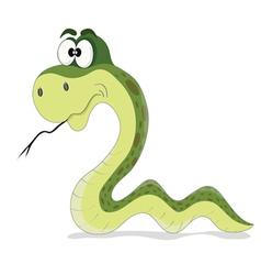Cartoon funny green snake vector