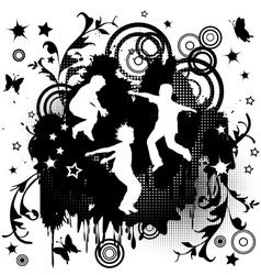 Children jumping over grunge background vector image
