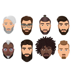 colorful cartoon hipsters bearded men guys avatars vector image vector image