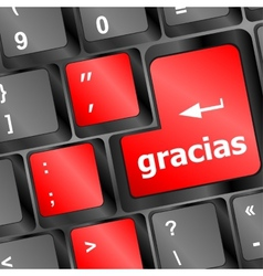 Computer keyboard keys with word gracias spanish vector