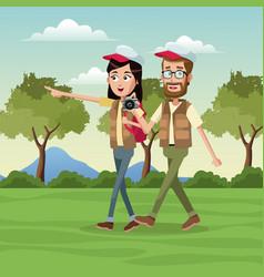Couple traveler vest cap landscape vector