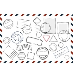 Envelope With Empty Stamps Composition vector image vector image
