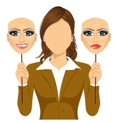 Faceless woman holding happy and angry mask vector